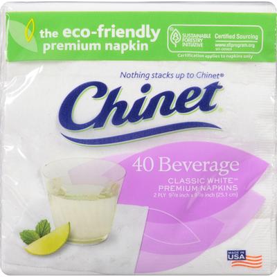 Chinet Napkins, Premium, Classic White, Beverage, 2 Ply