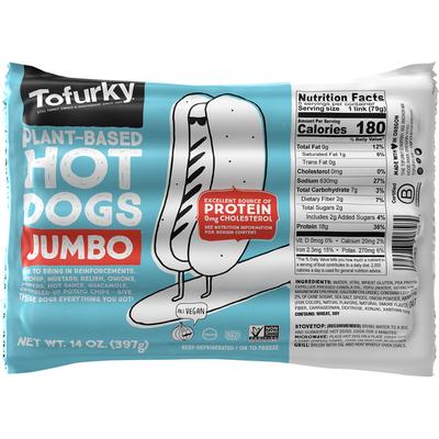Tofurky Hot Dogs, Plant-Based, Jumbo