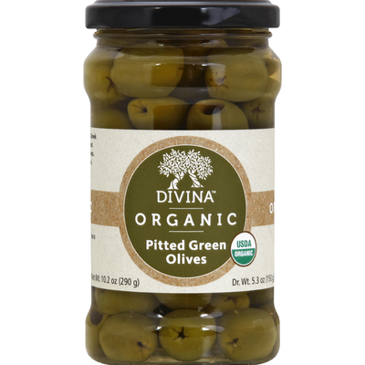Divina Olives, Organic, Green, Pitted
