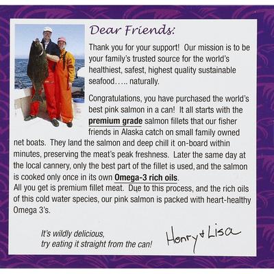 Henry & Lisas Salmon, Wild Alaskan Pink, Cooked Fillet