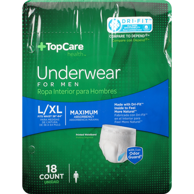 TopCare Underwear, Maximum Absorbency, Large/Extra Large, for Men