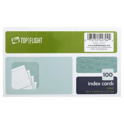 Top Flight Index Cards, Ruled