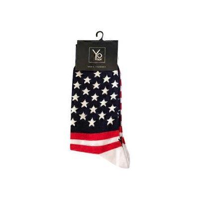 Yo Sox Red White & Blue Stars Stripes Patriotic American Flag Mens Crew Socks