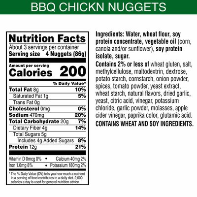 Morning Star Farms Meatless Chicken Nuggets, Plant Based Protein Vegan Meat, Frozen Meal, BBQ