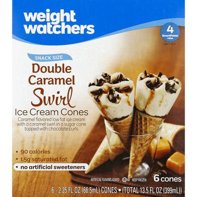 Weight Watchers Ice Cream Cones, Double Caramel Swirl, Snack Size