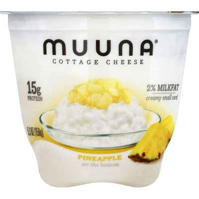 Muuna Cottage Cheese, Creamy Small Curd, 2% Milkfat, Pineapple on the Bottom