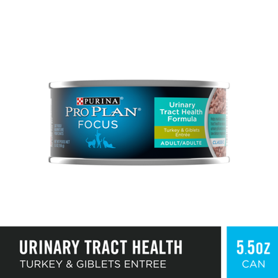 Purina Pro Plan Urinary Tract Health Pate Wet Cat Food, FOCUS Urinary Tract Health Formula Turkey & Giblets Entree