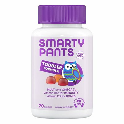 SmartyPants Toddler Formula Daily Gummy Multivitamin: Vitamin C, D3, & Zinc for Immunity, Gluten Free, Omega 3 Fish Oil (DHA/EPA), Vitamin B6, Methyl B12