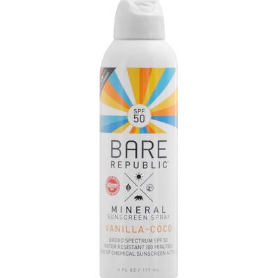 Bare Republic Sunscreen Spray, Mineral, Vanilla-Coco, Broad Spectrum SPF 50