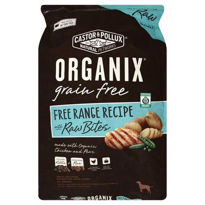 Organix Dog Food, Chicken and Peas, Range Free Recipe, with Raw Bites, Adult, Bag