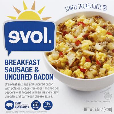 Evol Breakfast Sausage & Bacon, Uncured