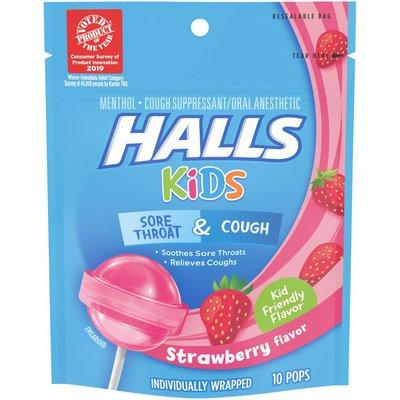 Halls Kids Cough & Sore Throat Pops in Strawberry Flavor