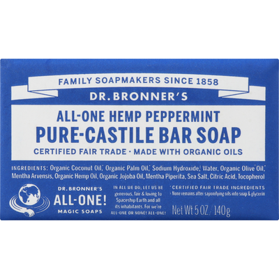 Dr. Bronner's Bar Soap, Pure-Castile, All-One Hemp, Peppermint
