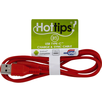 Hottips Charge & Sync Cable, USB Type-C, 3 ft. Long, Red