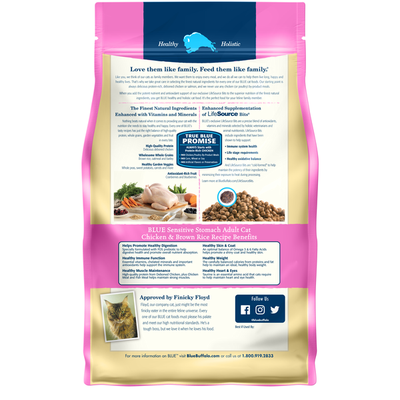 Blue Buffalo Sensitive Stomach Natural Adult Dry Cat Food, Chicken & Brown Rice