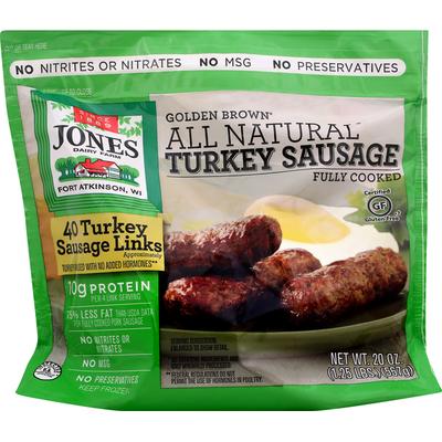 Jones Dairy Farm Sausage Links, Turkey, Golden Brown