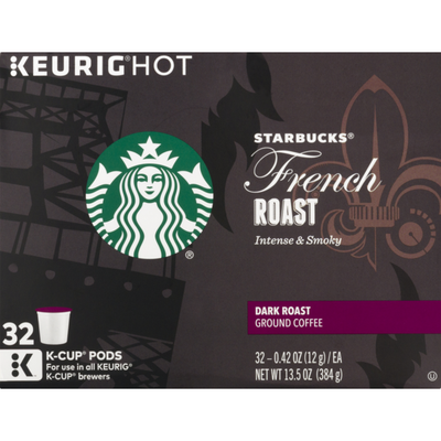 Starbucks Keurig Hot French Roast Dark Roast Ground Coffee K-Cup Pods