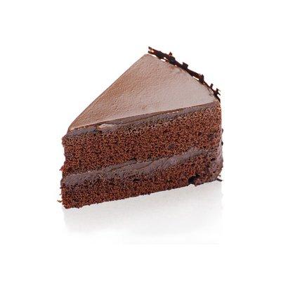 Fudge Iced Chocolate Cake Slice