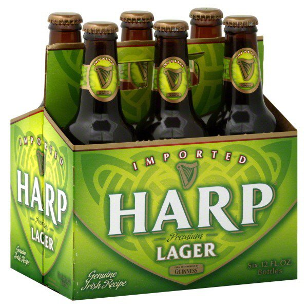Harp Irish Lager A well-balanced lager beer with mild bread malts, citrus and pine flavored hops. Good level of carbonation with a mild bitter finish.