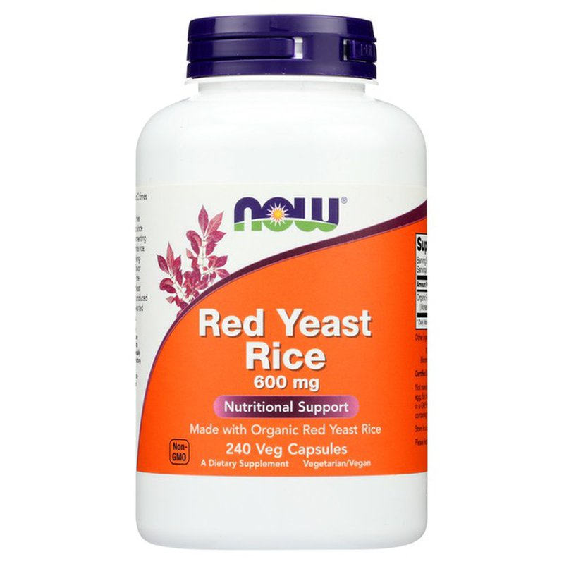 Now Red Yeast Rice 600 Mg Nutritional Support Dietary Supplement Veg Capsules