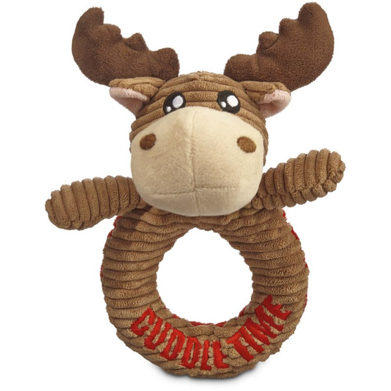 """6"""" Holiday Moose Puppy Squeak Ring Dog Toy"""
