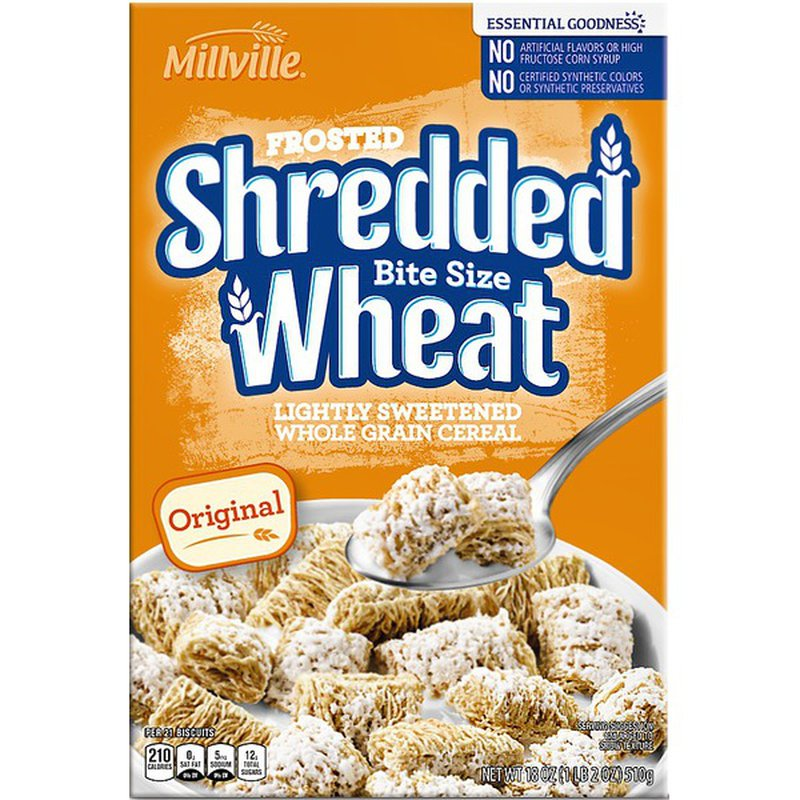 Millville Original Frosted Shredded Wheat Bite Size Sweetened Whole Grain Cereal