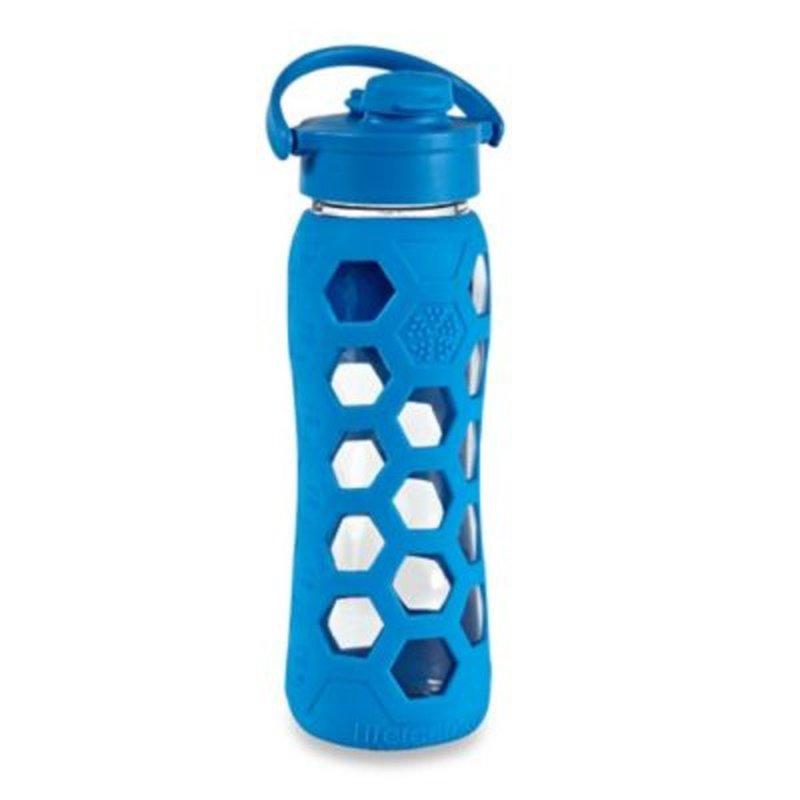 Lifefactory Hex Sleeve Ocean Flip Top Cap Glass Water Bottle