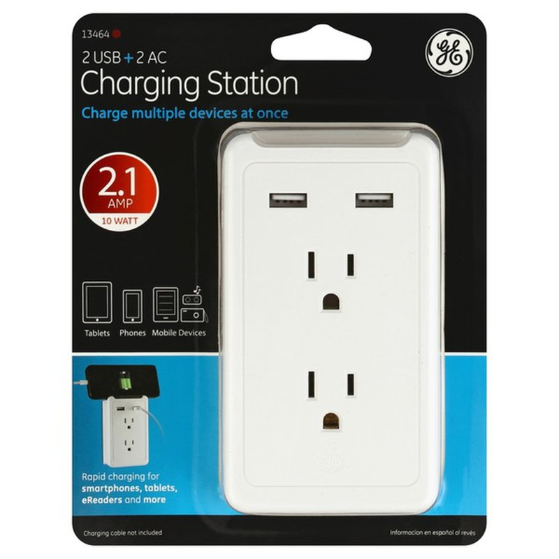 General Electric White 2 USB Port & 2 AC Outlet Charging Station