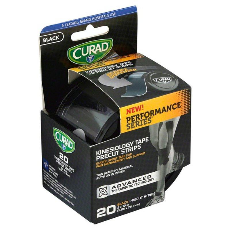 CURAD Black Performance Series Kinesiology Tape Precut Strips