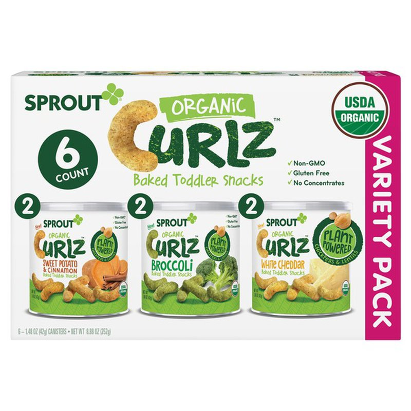 """Sprout Foods Organic Curlz Variety Pack, 6 X 1.48 oz"""""""
