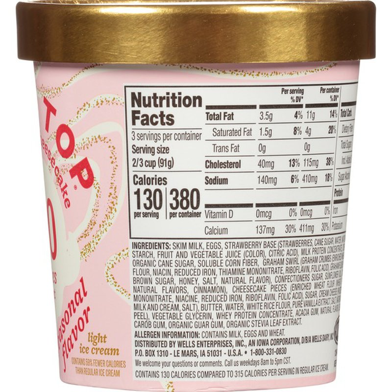Halo Top Strawberry Cheesecake Light Ice Cream Pint