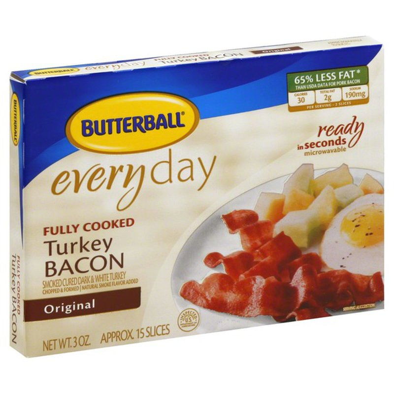 Butterball Every Day Original Fully Cooked Turkey Bacon (3 ...