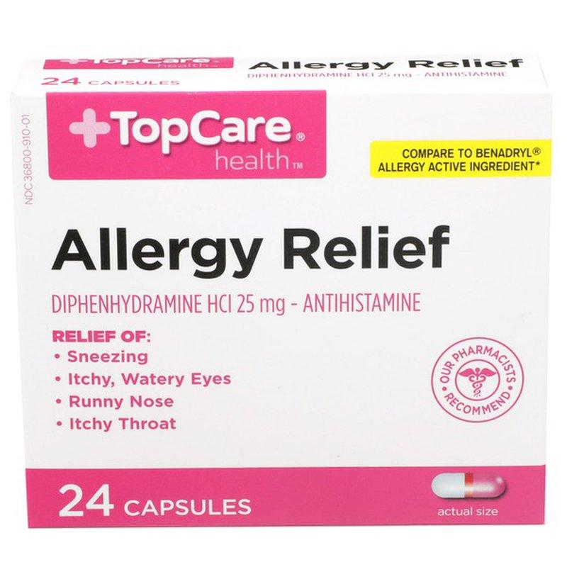 Topcare Health Allergy Relief Diphenhydramine Hcl 25 Mg - Antihistamine  Capsules (24 ct) - Instacart