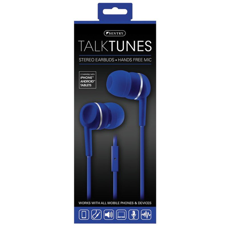 Sentry Pro Blue Talktunes Stereo Earbuds With Hands Free Mic