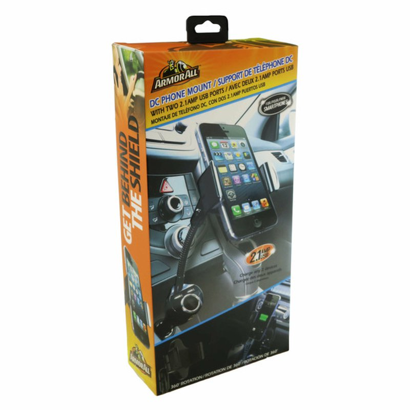 Armor All DC Phone Mount With Dual 2.1 Amp USB Ports