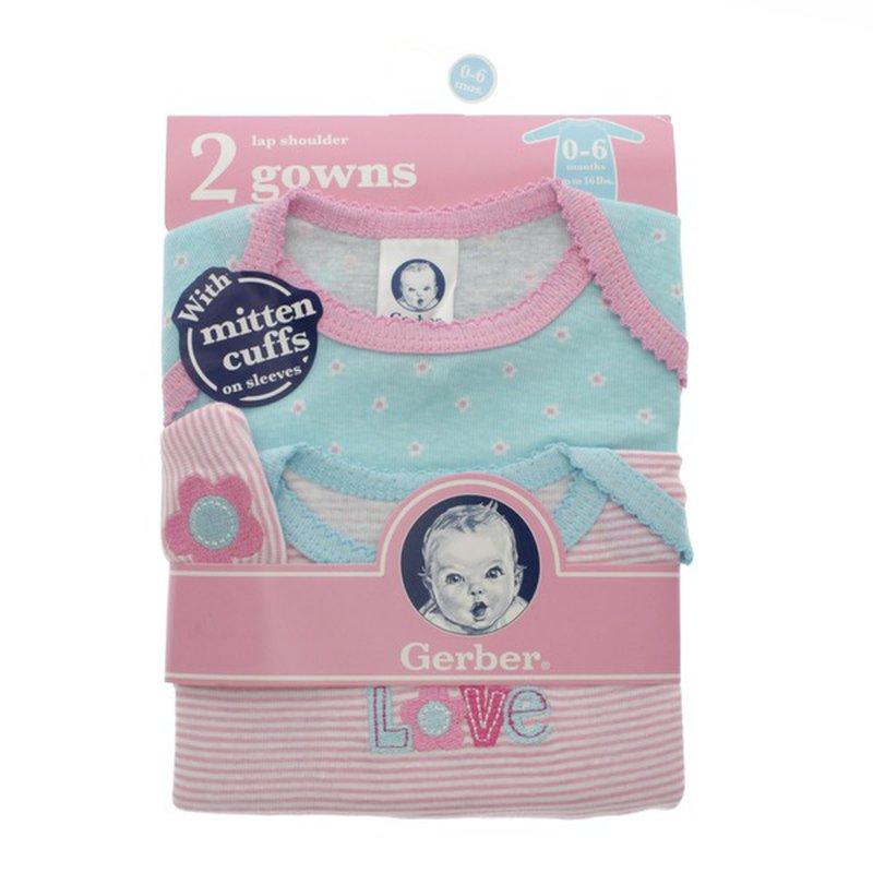 Gerber 0-6 Months Girl's Lap Shoulder Gowns