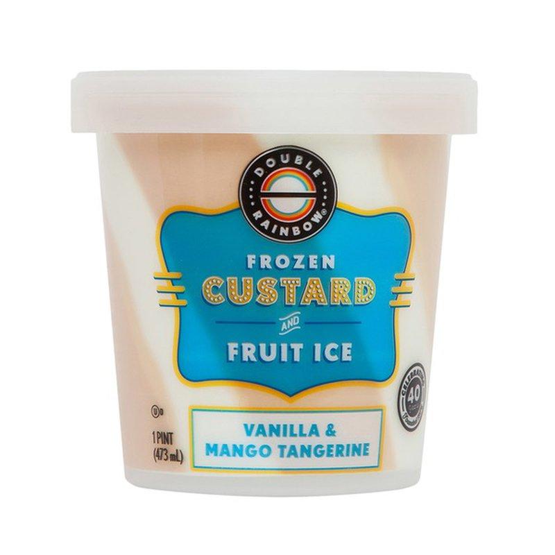 Double Rainbow Frozen Custard And Fruit Ice, Vanilla & Mango Tangerine