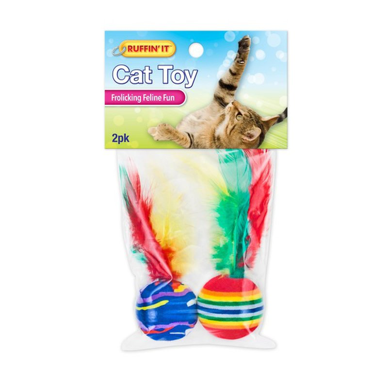 Ruffin' It Feathered Foam Balls Cat Toys Assorted Colors