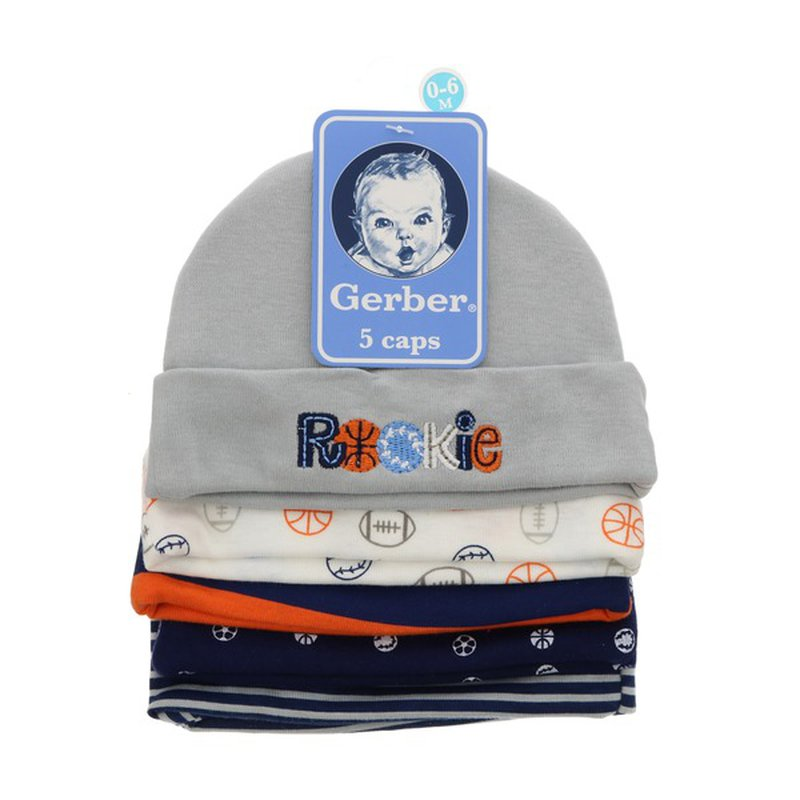 Gerber Newborn Boys Cotton Soft Knit Caps 0-6 M