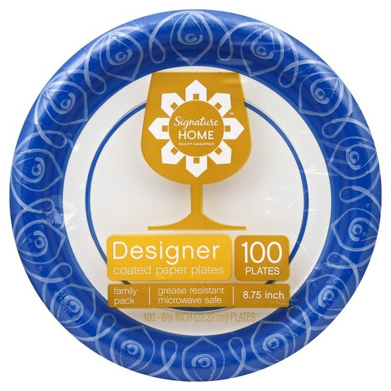 Signature Home Designer Coated 8 75 Paper Plates 100 Ct Instacart