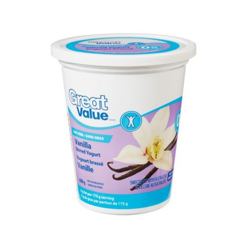 Great Value Fat-Free Stirred 0% M.F. Vanilla Yogurt