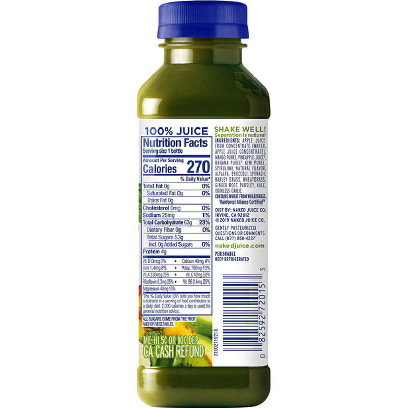 Naked Boosted Green Machine Juice Smoothie (64 oz) - Instacart