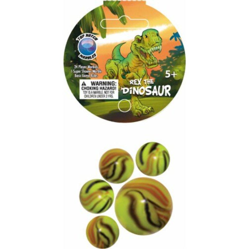 Mega Fun 25 Piece Green Orange Black Top Notch Marbles Rex the Dinosaur Marble Game