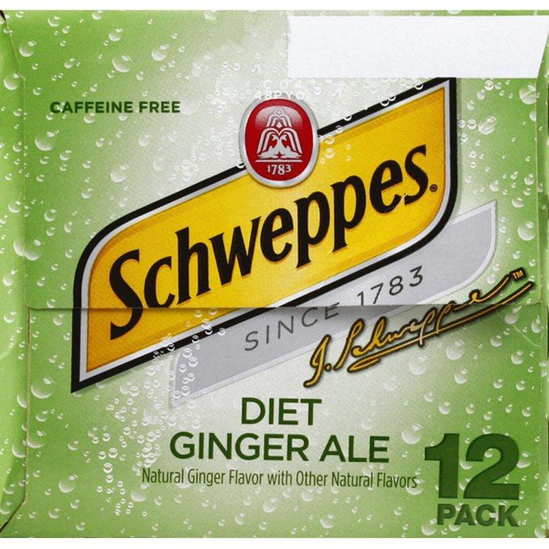 Schweppes Ginger Ale, Diet, Caffeine Free, 12 Pack (12 ...