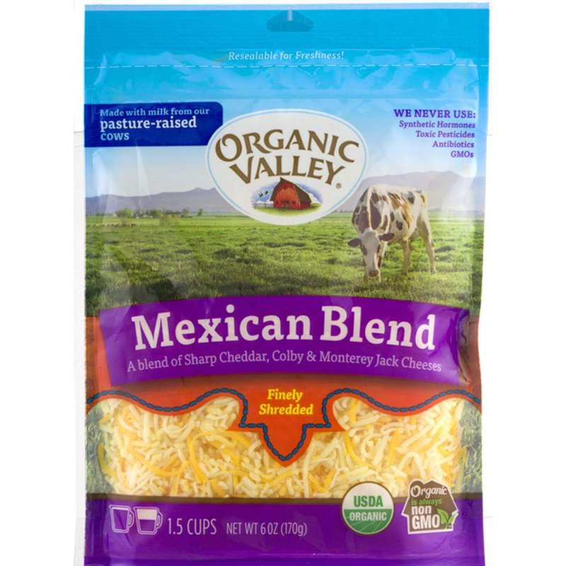 Organic Valley 3 Cheese Organic Finely Shredded Mexican Cheese Blend