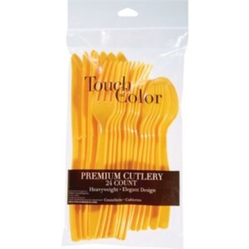 Touch of Color School Bus Yellow Premium Plastic Cutlery Assortment