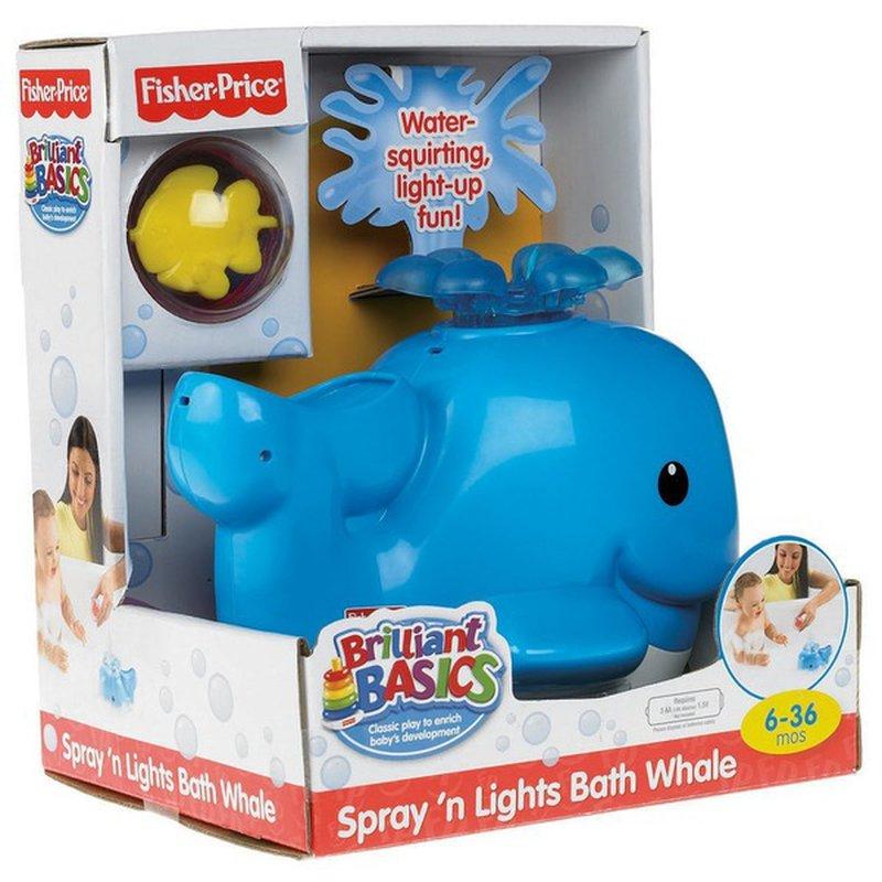 Fisher-Price Brilliant Basics Spray 'n Lights Bath Whale (6-36 Months)