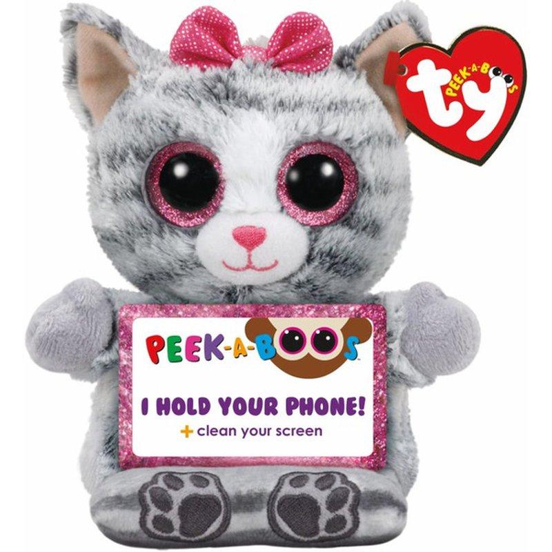 Ty Peek A Boos Phone Holder Moll the Grey Cat Beanie Baby