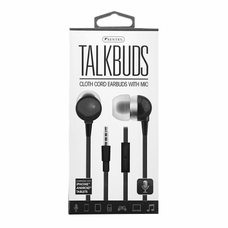 Sentry Pro Black Talkbuds Earbuds With Mic