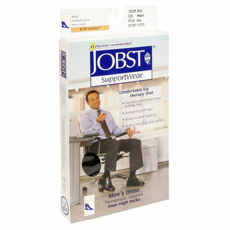 JOBST Support Wear, Knee High Socks, Black, Medium